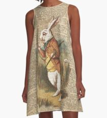 White Rabbit Alice in Wonderland Vintage Art A-Line Dress