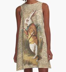 White Rabbit Alice in Wonderland Vintage Art A-Line Dress