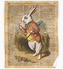 White Rabbit Alice in Wonderland Vintage Art Poster
