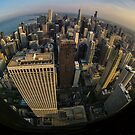 Fisheye overview of Chicago Skyline  by Sven Brogren
