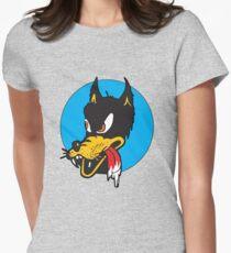 Rockabilly Cartoon Wolf Womens Fitted T-Shirt