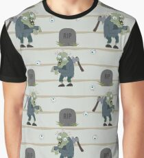 Zombie with axe in his back and worms in brain. Graphic T-Shirt