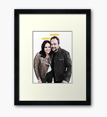 Lana Parrilla and Mark Sheppard with halos Framed Print