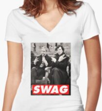 SWAGLOCK Women's Fitted V-Neck T-Shirt