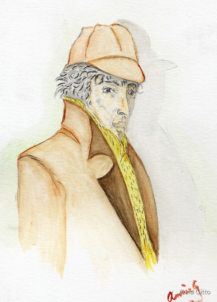Sherlock Holmes Caricature  by Anne Gitto