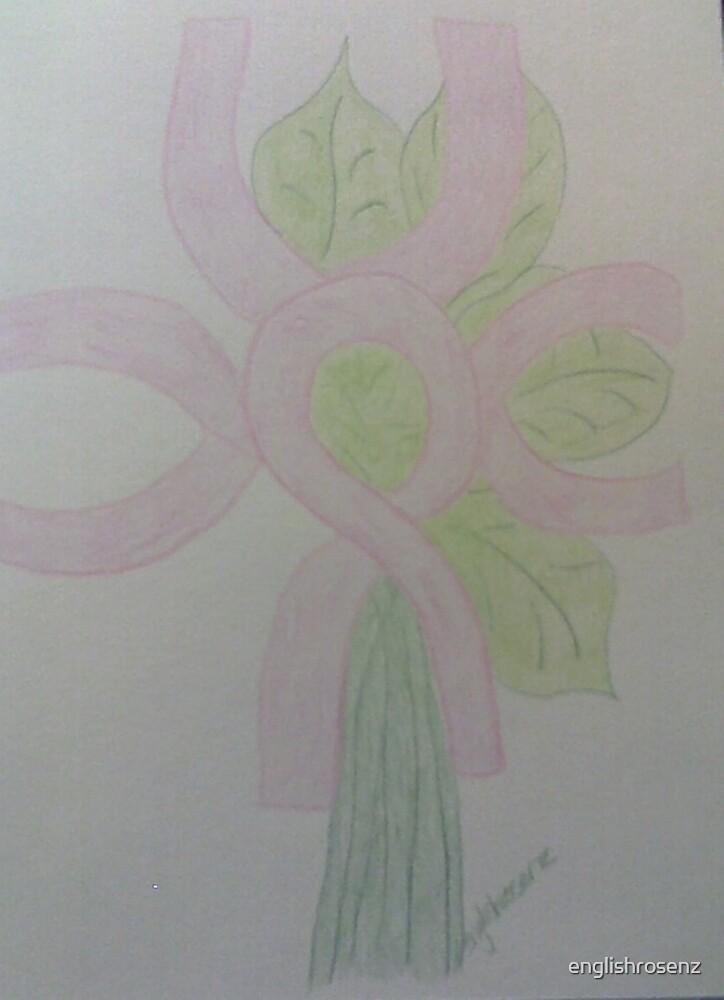 Pink Ribbon Flower by englishrosenz