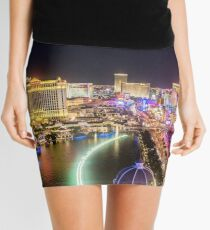 Nighttime Panorama of the Strip, Las Vegas, Nevada USA Mini Skirt