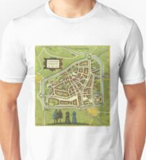 Leeuwaerden Vintage map.Geography Netherlands ,city view,building,political,Lithography,historical fashion,geo design,Cartography,Country,Science,history,urban Unisex T-Shirt