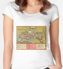 Limerick Vintage map.Geography Irland ,city view,building,political,Lithography,historical fashion,geo design,Cartography,Country,Science,history,urban Women's Fitted Scoop T-Shirt