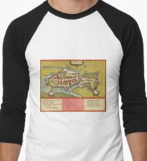 Limerick Vintage map.Geography Irland ,city view,building,political,Lithography,historical fashion,geo design,Cartography,Country,Science,history,urban Men's Baseball ¾ T-Shirt