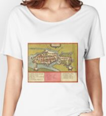 Limerick Vintage map.Geography Irland ,city view,building,political,Lithography,historical fashion,geo design,Cartography,Country,Science,history,urban Women's Relaxed Fit T-Shirt