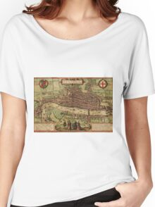 London Vintage map.Geography Great Britain ,city view,building,political,Lithography,historical fashion,geo design,Cartography,Country,Science,history,urban Women's Relaxed Fit T-Shirt