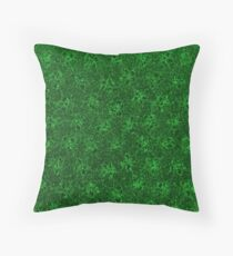 Vintage Floral Emerald Green  Throw Pillow