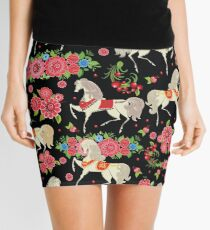 Dancing Horse with Red Rose Flower in Black Background Pattern Mini Skirt
