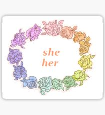 She/ Her pronouns with flowers Sticker