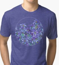 Purple Daisies in Watercolor & Colored Pencil  Tri-blend T-Shirt