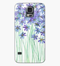 Purple Daisies in Watercolor & Colored Pencil  Case/Skin for Samsung Galaxy