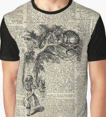 Alice With Cheshire Cat,Alice In Wonderland,Vintage Dictionary Art Graphic T-Shirt