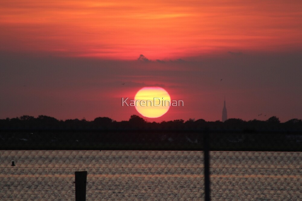 Island Park Big Sun Ball Sunset by KarenDinan