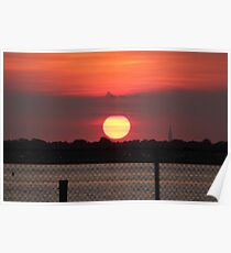Island Park Big Sun Ball Sunset Poster