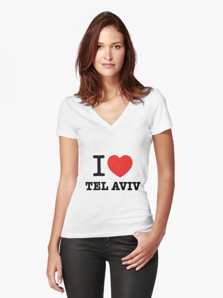 i love Tel Aviv Women's Fitted V-Neck T-Shirt Front