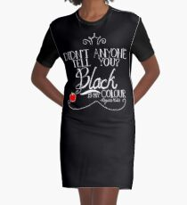 Black is my colour (white font, English spelling) Graphic T-Shirt Dress