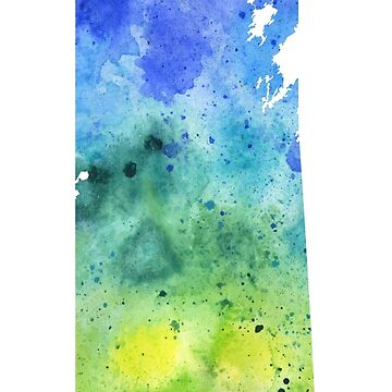 Watercolor Map of Saskatchewan, Canada in Blue and Green by AndreaHill