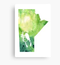 Watercolor Map of Manitoba, Canada in Green Canvas Print