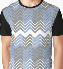 Blue and Grey ZigZag Pattern Graphic T-Shirt
