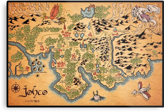 Johto Map Metal Prints By Meleeninja Redbubble