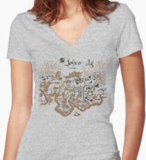 Johto Map Women's Fitted V-Neck T-Shirt