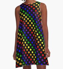 Rainbow Dots (Black) A-Line Dress