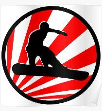 snowboard red rays Poster
