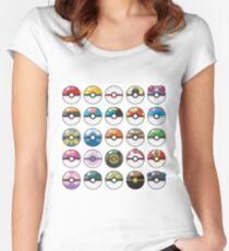 Pokemon Pokeball White Women's Fitted Scoop T-Shirt