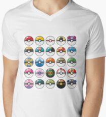 Pokemon Pokeball White Men's V-Neck T-Shirt
