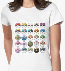 Pokemon Pokeball White Women's Fitted T-Shirt