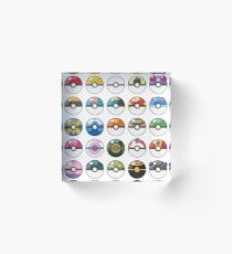 Pokemon Pokeball White Acrylic Block