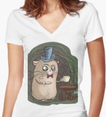 Sir Hamster with tea Women's Fitted V-Neck T-Shirt