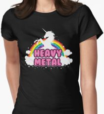 heavy metal parody funny unicorn rainbow Womens Fitted T-Shirt