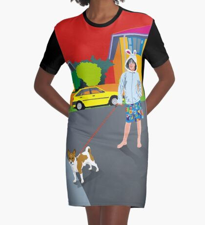 Bob and the Mystery Rabbit Girl Graphic T-Shirt Dress