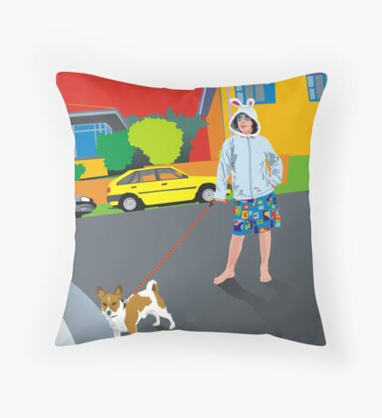 Bob and the Mystery Rabbit Girl Throw Pillow