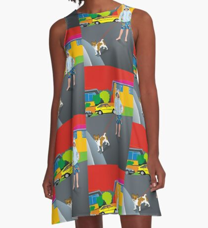 Bob and the Mystery Rabbit Girl A-Line Dress
