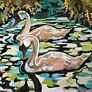 Swimming Swans  by AnnPilicer