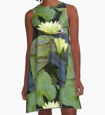 Yellow Lilies with Tiger Striped Lilypads A-Line Dress