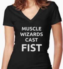 Muscle wizards cast FIST - white text Women's Fitted V-Neck T-Shirt