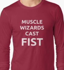 Muscle wizards cast FIST - white text Long Sleeve T-Shirt