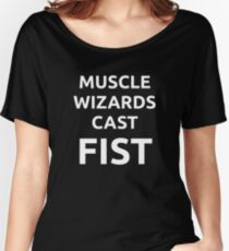Muscle wizards cast FIST - white text Women's Relaxed Fit T-Shirt
