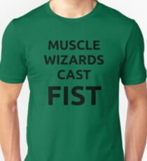 Muscle wizards cast FIST - black text T-Shirt
