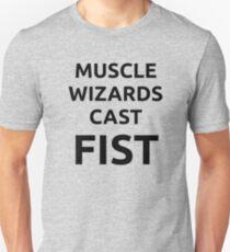 Muscle wizards cast FIST - black text T-Shirt