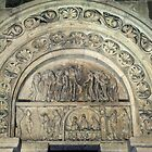 Tympanum over internal door Narthex Vezelay France 19840505 0056 by Fred Mitchell
